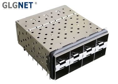 SFP Cage Connector 2 x 4 Ports Stacked  SFP  + Cage Connector with EMI Gasket Integrated light Pipes