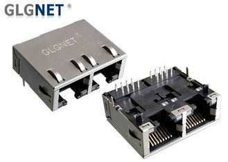 1 x 2 Ganged LAN RJ 45 Connector Side Entry Rj45 Female Jack Tab Down